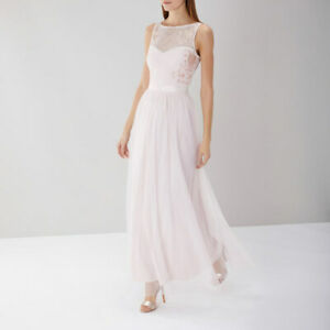 COAST Dress UK 14 HEIDI Blush Pastel Tulle Maxi Party Bridesmaid Cruise BNWT