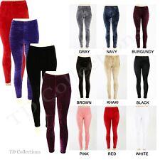 SALE ! Women Slim Fit Velvet Velour Punk High Waist Sexy Leggings Pants S M L