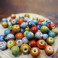 100pcs Vintage Loose Ceramic Porcelain Beads Charms For Jewelry Making (6mm) AU