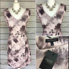Beautiful Pink Mauve Floral V Neck Fit & Flare Formal Skater Dress 8 UK Wedding