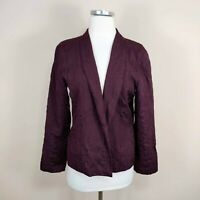 Eileen Fisher Petite M Silk Jacket Open Front Purple Textured Embroidered