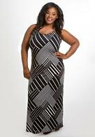 Plus Size Maxi Dress 1X 3X Black White Sleeveless SWAK Polyester Blend NEW