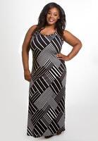 Plus Size Maxi Dress 1X Black White Sleeveless SWAK Polyester Blend NEW