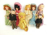 "Vintage Celluloid Sleepy Eyes Bride and Groom Dolls in Crochet Ensembles 8"" Lot"