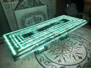7'x3' Green Marble Online Fluoride LED Light Table Top With Stand Decor E379