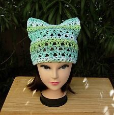 Earth Day March for Science Summer Pussy Cat Hat Cotton Green and White Pussyhat