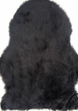 Schaffell Lammfell Kunstfell Imitat, warm schwarz, ca. 65x90cm