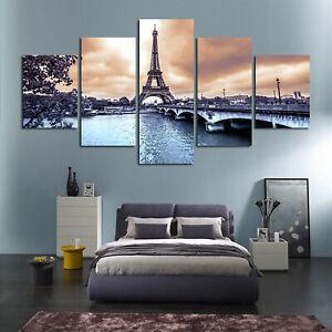 5Pcs Paris Cityscape Eiffel Tower Painting Print Canvas Room Wall Art Decor Set