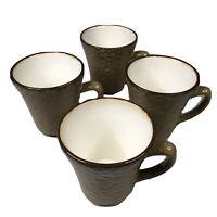 Sango Brown Stoneware Coffee Mugs Set of 4 Cups 4619