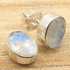 Blue Fire RAINBOW MOONSTONE Earrings Pair, 925 Silver Plated Mens Womens Jewelry