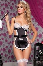 French Maid New Adult Halloween Cristmas Womens Valentine Sexy Black One Size
