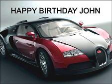 A4 BUGATTI RED SPORTS CAR EDIBLE ICING BIRTHDAY CAKE TOPPER