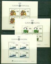 EUROPA 1988 Portugal + Azores + Madeira Souvenir sheets NH, VF Scott $41.00