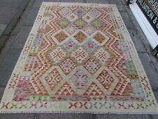 Kilim Old Traditional Hand Made Afghan Oriental Red Wool Large Kilim 234x174cm