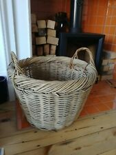 Large Vintage Chunky Wicker Rattan Basket with handles Laundry,Log,Toys or Store