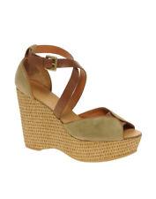 ASH sandales compensées cuir et daim beige 40
