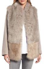 $398 ELIE TAHARI MADDIE Brown Sugar Faux Fur Car Coat Jacket - L (10-12-14)