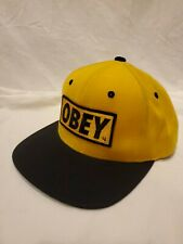 OBEY Black Snapback Hat Embroidered Logo Skateboard Black Yellow Green