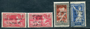 FRANCE FRENCH COLONY 1924 LEBANON GRAND LIBAN OLYMPIC GAMES 4 VALS TO 2.5PI MH