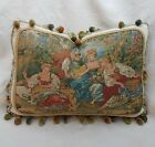 French Vintage Tapestry Pillow, Romantic Birds, Blue Gold Red,  Custom Made