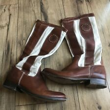 Womens Brown Leather Canvas FRYE #77117 Melissa Striped Riding Boots Sz 9 1/2