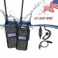 2x Baofeng GT-3WP V/UHF Ham FM Walkie Talkie Waterproof IP67 + Programming Cable