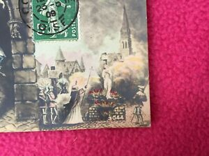 1909 FRENCH POSTCARD stamp JEANNE d'ARC joan of arc COMPIEGNE angel BURNED STAKE