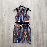 Women's Topshop Geometric Sleeveless Mini Dress Party Occasion - Size UK 10