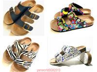 HOT Women's Slide Buckle T-Strap Cork Footbed Platform Flip Flop Shoes Sandals