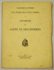 D'Ovidio Esegesi Divina Commedia Esposizione CANTO XX INFERNO 1902 Sandron