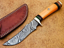 HAND FORGED DAMASCUS STEEL HUNTING KNIFE-STAINED CAMEL BONE HANDLE- MP-5553