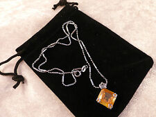 Austrian Crystals 18k White Gold Plated Square Maize Yellow Crystal Necklace