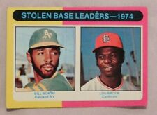 1975 Topps #30 1974 Stolen Base Leaders Lou Brock Cardinals & Bill North A's