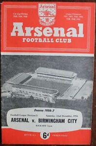 ARSENAL V BIRMINGHAM PROGRAMME DECEMBER 1956