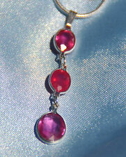 BEAUTIFUL  OVAL THREE STONE  RUBY  PENDANT IN STERLING SILVER 4.00  CARATS