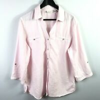 Chicos Womens Button Down Shirt Size 3 XL Pink 3/4 Sleeve Roll Tab V-Neck Top