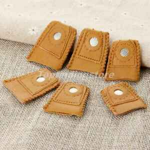 2pcs Leather Thimble Finger Sewing Grip Shield Protector Craftwork DIY Accessory