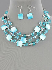Aqua Blue Layered Shell Glass Fashion Necklace Earring Set Silver Bead Wire
