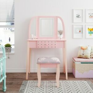 Pink Dressing Table Makeup Vanity Desk Drawers W/ LED Lights Mirror & PU Stool