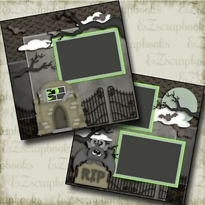 CEMETERY - Halloween - 2 Premade Scrapbook Pages - EZ Layout 3536