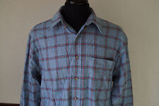 Vintage Natural Issue Light Blue / Red Plaid Check Button Up Shirt Size Large