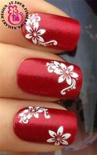 3D NAIL ART STICKERS DECALS TRANSFER WHITE WATER FLOWERS GEM SILVER GLITTER #527