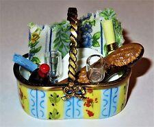 LIMOGES BOX -PICNIC BASKET- DISHES -WINE GLASSES & BOTTLE- CLOTH & NAPKIN -BREAD