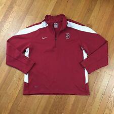 Nike Team Fit Dry Long Sleeve Quarter Zip Pullover Red White Shirt Men's Large