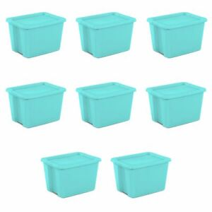 Sterilite 18 Gal. Tote Box Bleached Teal Case of 8