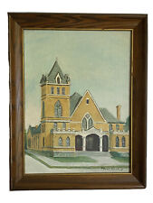 Americana Vintage Old Central Presbyterian Church Bristol VA Oil Art Painting