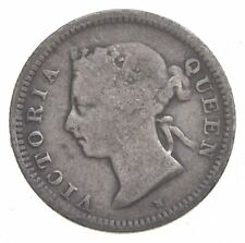 SILVER Roughly the Size of a Dime 1900 Hong Kong 5 Cents World Silver Coin *621