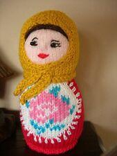 Russian doll. Matryoshka.Knitted. Handmade. OOAK. New. 15 cm tall. Cotton yarn.