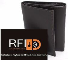 RFID Security lined Full Grain Leather Trifold Wallet. Bargain Price.12005.