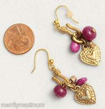 Chico's Earrings Gold Tone Heart Charms Pink Fuchsia Bead Accents Dangles
